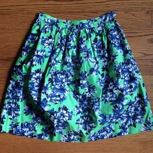 J. Crew Floral Skirt Green Blue Flowers Size 4